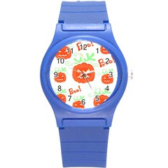 Halloween Pumpkins Pattern Round Plastic Sport Watch (s) by Valentinaart