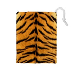 Tiger Skin Drawstring Pouches (large)  by AnjaniArt