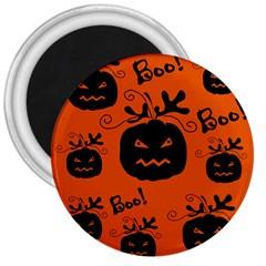 Halloween Black Pumpkins Pattern 3  Magnets by Valentinaart