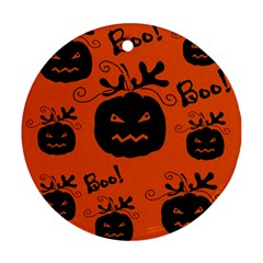 Halloween Black Pumpkins Pattern Ornament (round)  by Valentinaart