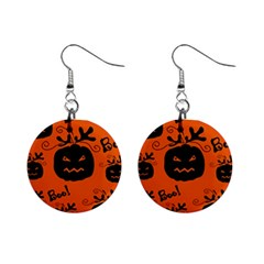 Halloween Black Pumpkins Pattern Mini Button Earrings by Valentinaart