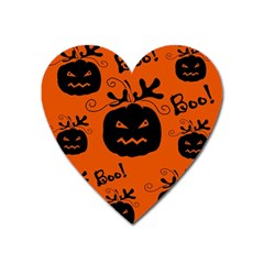 Halloween Black Pumpkins Pattern Heart Magnet by Valentinaart