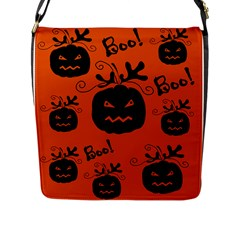 Halloween Black Pumpkins Pattern Flap Messenger Bag (l)  by Valentinaart