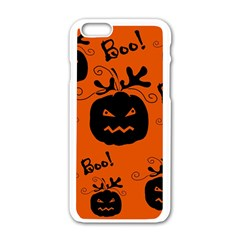 Halloween Black Pumpkins Pattern Apple Iphone 6/6s White Enamel Case by Valentinaart