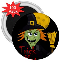 Halloween Witch 3  Magnets (100 Pack) by Valentinaart