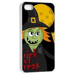 Halloween Witch Apple Iphone 4/4s Seamless Case (white) by Valentinaart