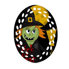 Halloween Witch Oval Filigree Ornament (2 Side)  by Valentinaart