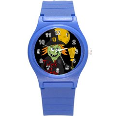 Halloween Witch Round Plastic Sport Watch (s) by Valentinaart