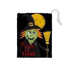 Halloween Witch Drawstring Pouches (medium)  by Valentinaart