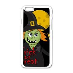 Halloween Witch Apple Iphone 6/6s White Enamel Case by Valentinaart