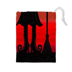 Halloween Black Witch Drawstring Pouches (large)