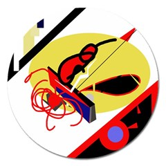 Abstract Art Magnet 5  (round) by Valentinaart
