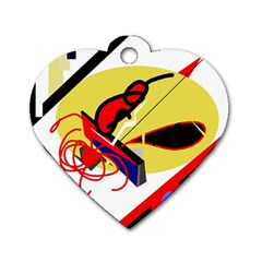 Abstract Art Dog Tag Heart (one Side) by Valentinaart