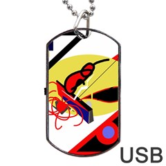 Abstract Art Dog Tag Usb Flash (one Side) by Valentinaart