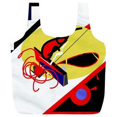 Abstract Art Full Print Recycle Bags (l)  by Valentinaart