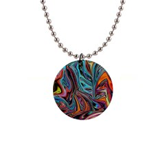 Brilliant Abstract In Blue, Orange, Purple, And Lime Green  Button Necklaces by theunrulyartist