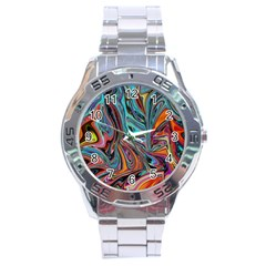 Brilliant Abstract In Blue, Orange, Purple, And Lime Green  Stainless Steel Analogue Watch by theunrulyartist