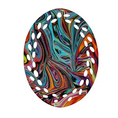 Brilliant Abstract In Blue, Orange, Purple, And Lime Green  Oval Filigree Ornament (2 Side)  by theunrulyartist