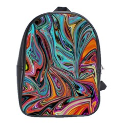 Brilliant Abstract In Blue, Orange, Purple, And Lime Green  School Bags (xl)  by digitaldivadesigns