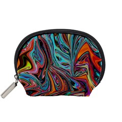 Brilliant Abstract In Blue, Orange, Purple, And Lime Green  Accessory Pouches (small)