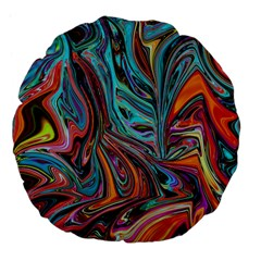 Brilliant Abstract In Blue, Orange, Purple, And Lime Green  Large 18  Premium Flano Round Cushions by theunrulyartist