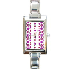 Vertical Stripes Floral Pattern Collage Rectangle Italian Charm Watch by dflcprints