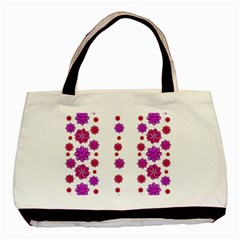 Vertical Stripes Floral Pattern Collage Basic Tote Bag (two Sides) by dflcprints