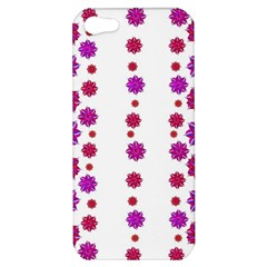 Vertical Stripes Floral Pattern Collage Apple Iphone 5 Hardshell Case by dflcprints