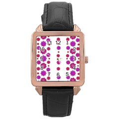 Vertical Stripes Floral Pattern Collage Rose Gold Leather Watch  by dflcprints