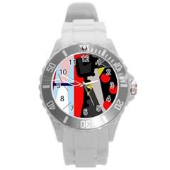 Looking Forwerd Round Plastic Sport Watch (l) by Valentinaart