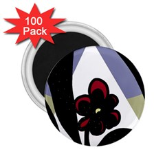 Black Flower 2 25  Magnets (100 Pack)  by Valentinaart