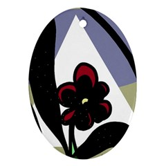 Black Flower Oval Ornament (two Sides) by Valentinaart
