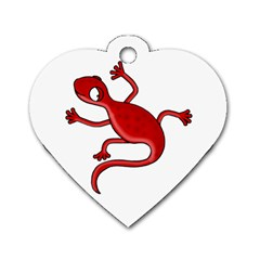 Red Lizard Dog Tag Heart (two Sides) by Valentinaart