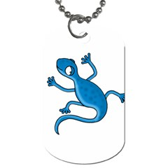 Blue Lizard Dog Tag (two Sides) by Valentinaart