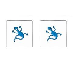 Blue Lizard Cufflinks (square) by Valentinaart
