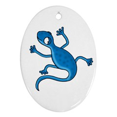Blue Lizard Oval Ornament (two Sides) by Valentinaart