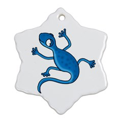 Blue Lizard Ornament (snowflake)  by Valentinaart