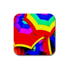 Umbrella Color Red Yellow Green Blue Purple Rubber Square Coaster (4 Pack)  by AnjaniArt