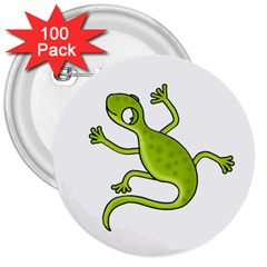 Green Lizard 3  Buttons (100 Pack)  by Valentinaart