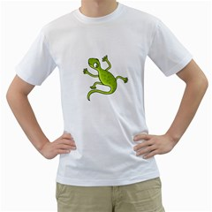 Green Lizard Men s T Shirt (white) (two Sided) by Valentinaart