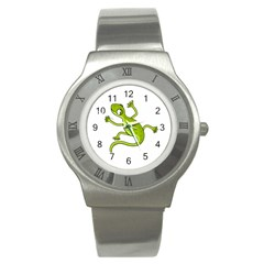 Green Lizard Stainless Steel Watch by Valentinaart
