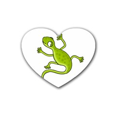 Green Lizard Heart Coaster (4 Pack)  by Valentinaart