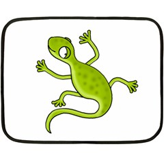 Green Lizard Double Sided Fleece Blanket (mini)  by Valentinaart