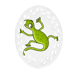Green Lizard Oval Filigree Ornament (2 Side)  by Valentinaart