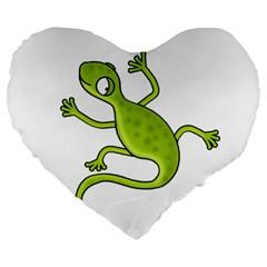 Green Lizard Large 19  Premium Heart Shape Cushions by Valentinaart