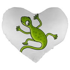 Green Lizard Large 19  Premium Flano Heart Shape Cushions by Valentinaart