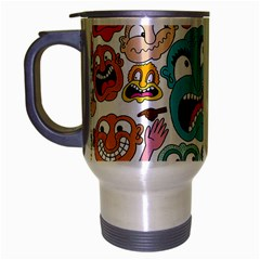 Weird Faces Pattern Travel Mug (silver Gray) by AnjaniArt