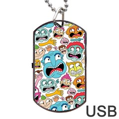Weird Faces Pattern Dog Tag USB Flash (One Side) by AnjaniArt