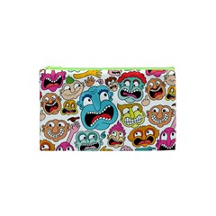 Weird Faces Pattern Cosmetic Bag (xs) by AnjaniArt