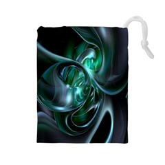 Ws Blue Green Float Drawstring Pouches (large)  by AnjaniArt